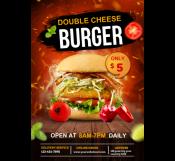 Double Cheese Burger Restaurant Flyer