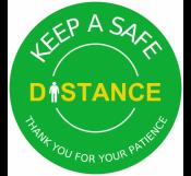 Green Safe Distance Floor Sign