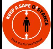 Orange Safe Distance Signage